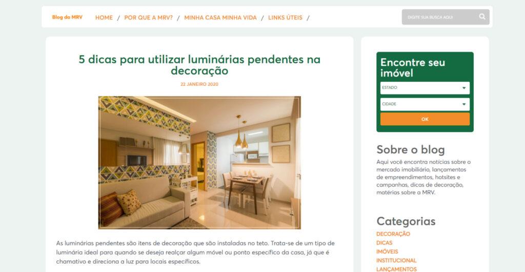Exemplo de blog corporativo: MRV Engenharia